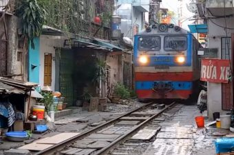 Railway Line through Hanoi Streets, Hanoi's narrow train street
