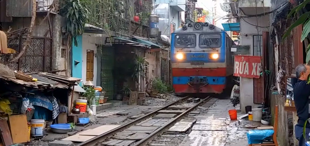 Railway Line Through Hanoi Streets